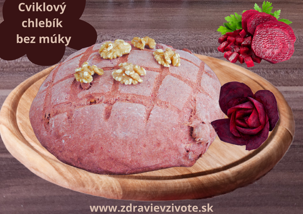 cviklový chlebík bez múky, chlieb bez lepku, zdravý chlieb, nízkokalorický chlieb, recepty